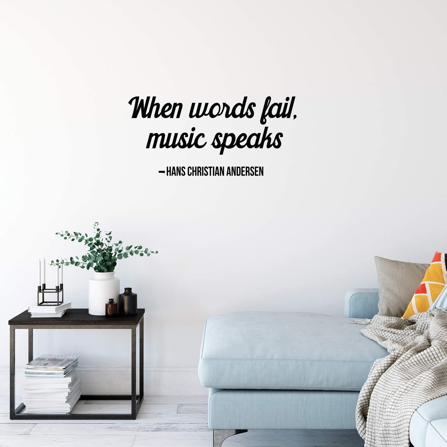 """Vinyl Wall Art Decal - When Words Fail, Music Speaks - 14"""" x 30"""" - Hans Christian Andersen Poetry Peel Off Vinyl Sticker Gifts for Home Office Living Room Kitchen Apartment Wall Decoration"""