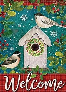 Furiaz Welcome Christmas Winter Garden Flag, Red Buffalo Plaid Check Home Decorative Bird House Yard Small Flag Decor Double Sided, Xmas Holiday Outdoor Decoration Seasonal Outside Burlap Flag 12 x 18