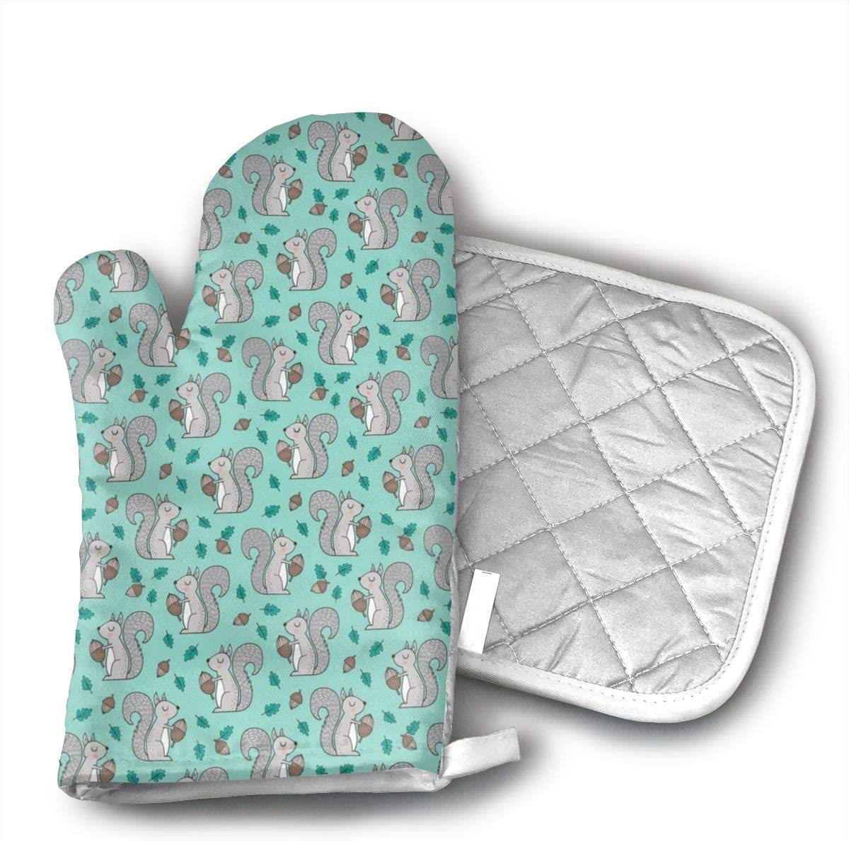 QEDGC Forest Squirrel with Leaves Acorn Autumn Fall On Mint Green Oven Mitts with Quilted Cotton Lining - Professional Heat Resistant Potholder Kitchen Gloves
