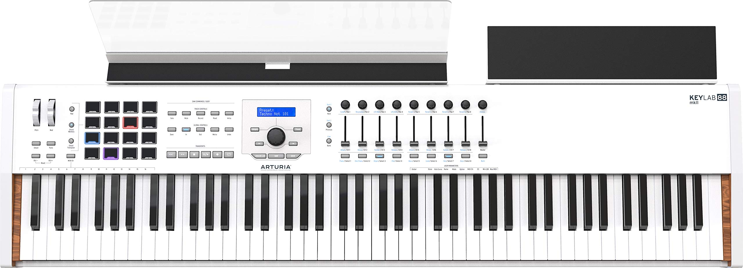 Arturia KeyLab 88 MkII Hammer-Action MIDI Controller and Software (White) by Arturia