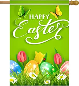 """ShineSnow Easter Colorful Eggs Butterflies Daisy Tulip Flowers Green House Flag 28"""" x 40"""" Double Sided Polyester Welcome Yard Garden Flag Banners for Patio Lawn Home Outdoor Decor"""