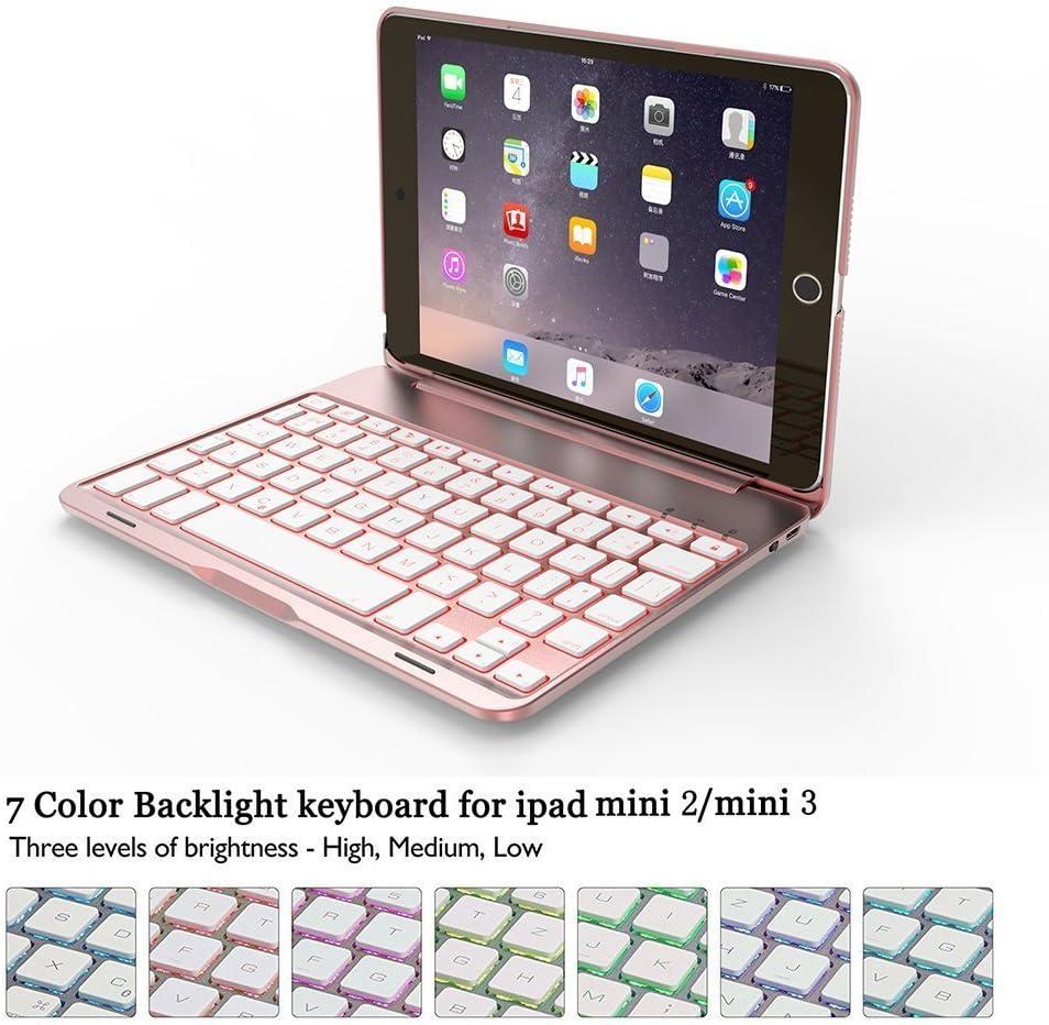 BECROWM - Funda para iPad Mini 2 y 3 (ultrafina, con función atril, teclado Bluetooth inalámbrico retroiluminado de 7 colores)