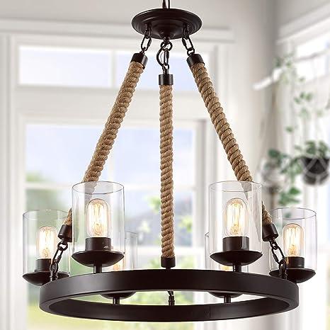 de araña de LNC techo de estilo rústico iluminación lámparas shrCQdtx