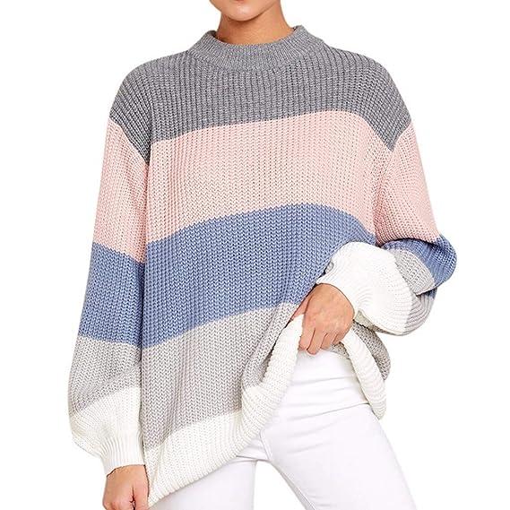 Aiserkly - Suéter de Punto para Mujer con Cuello en O Suelto y ...