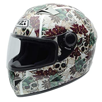 NZI 050264G684 Vital Graphics Crossbones Casco De Moto, Color Beige/Verde Granate, Talla
