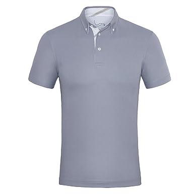 68ecc67be EAGEGOF Men's Shirts Short Sleeve Tech Performance Golf Polo Shirt Loose Fit  (Grey) -