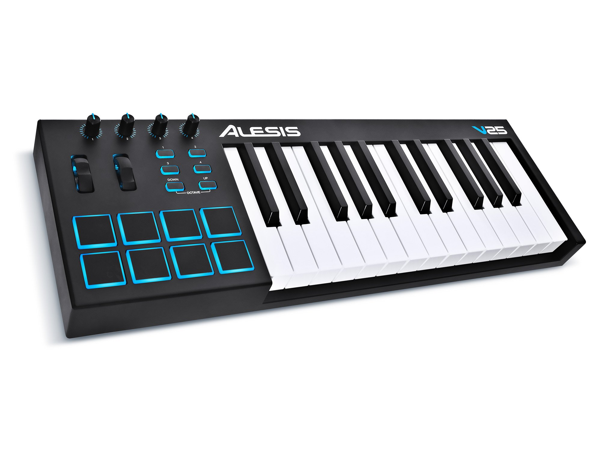 Alesis V25 | 25-Key USB MIDI Keyboard Controller with Backlit Pads, 4 Assignable Knobs and Buttons, Plus a Professional Software Suite with ProTools | First Included