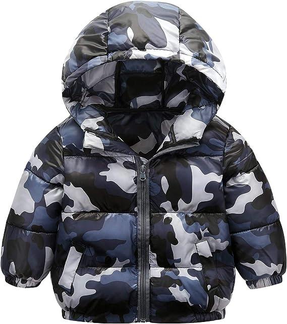 New Kids Boys Zipped Padded Camouflage Hooded Warm Puffer Jacket Coat
