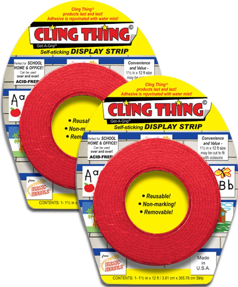 CLING THING© Get-A-Grip© Self-sticking DISPLAY STRIP - Red - 2 Pack