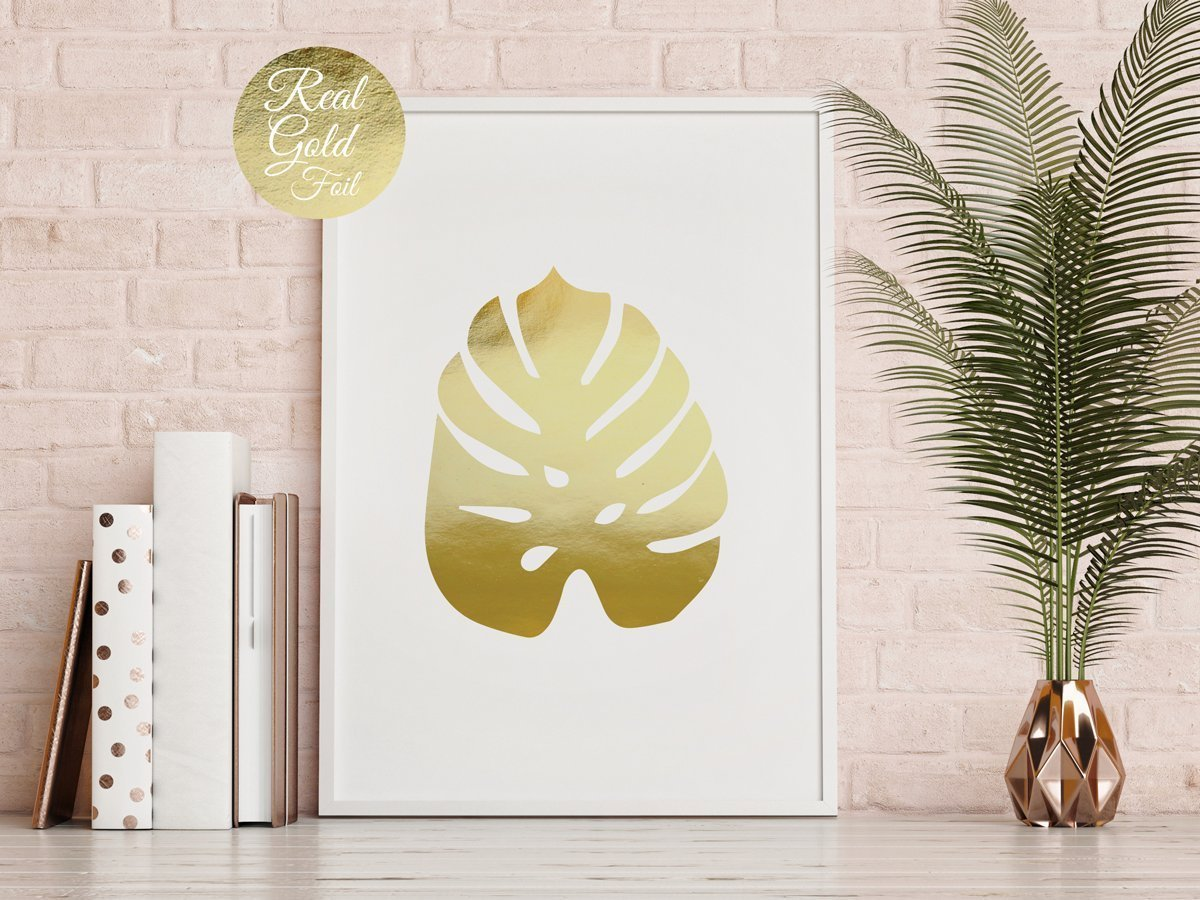 Amazon.com: Monstera Leaf Print, Gold Monstera, Real Gold Foil Print ...