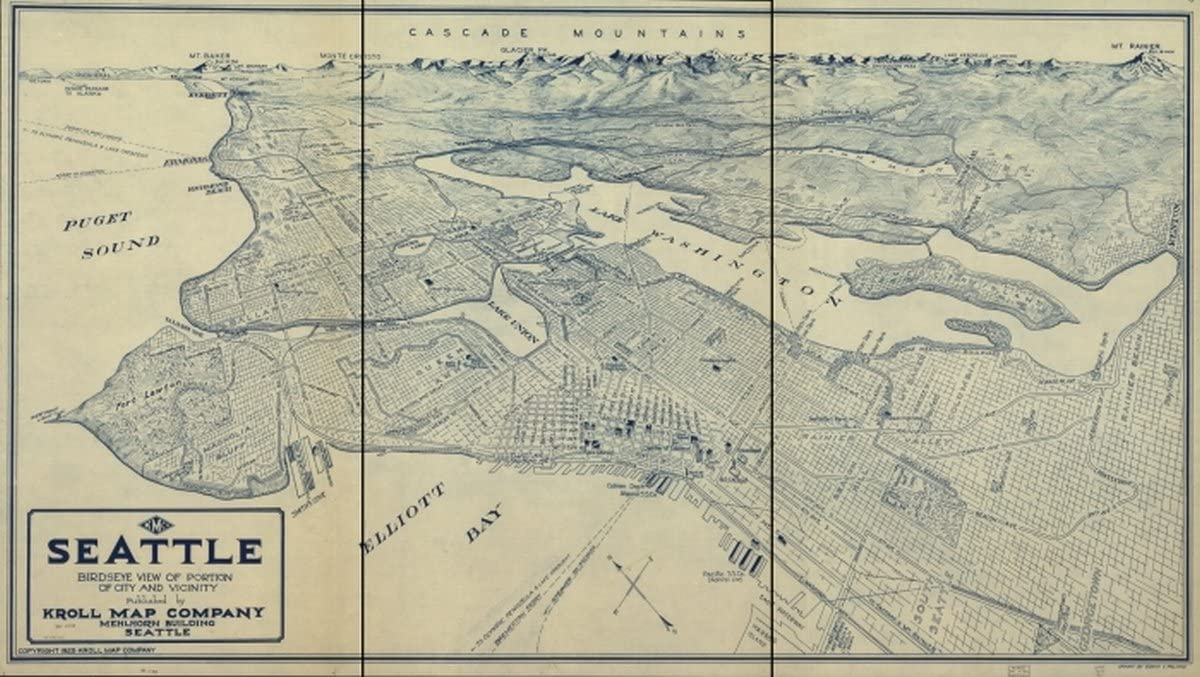INFINITE PHOTOGRAPHS Map: 1925 Seattle Birdseye View of Portion of City and Vicinity|Seattle|Seattle|Washington