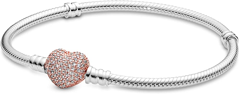 PANDORA Jewelry Moments Pave Heart Clasp Snake Chain Cubic Zirconia  Bracelet in Rose, 7.5