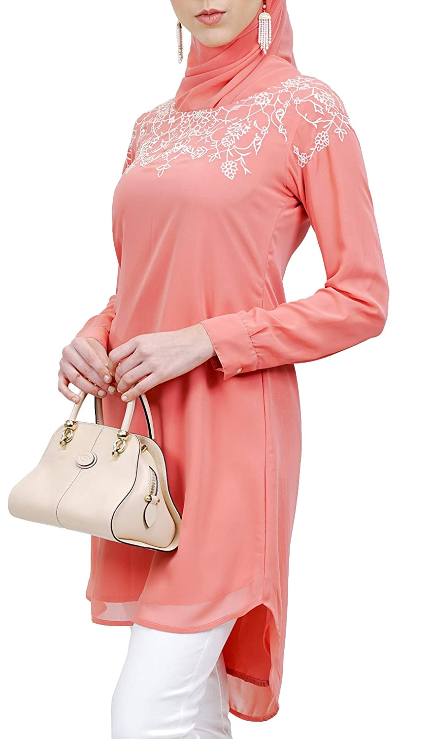 Artizara Hanna Embroidered Formal Long Modest Tunic Top Kurti Tunic Dress  Coral Pink