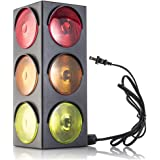 Traffic Light Lamp - Plug-In, Blinking Triple Sided, 12.25 Inch-For Kids Bedrooms, Decorations, Parties, Celebrations, Prop, & Gift - Kidsco