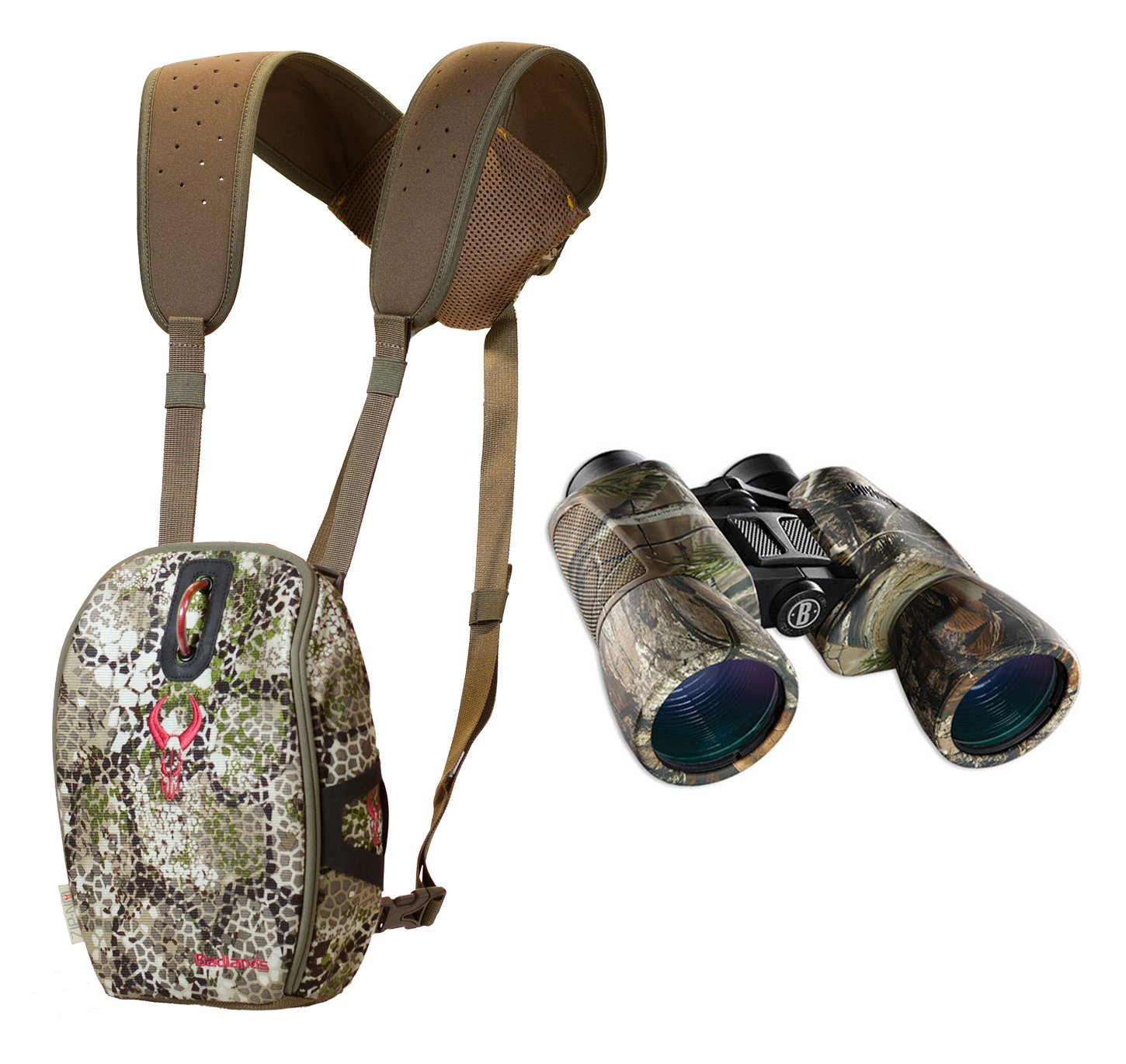 Badlands Mag Bino Case (Approach Camo) and 10x Magnification 10x50 Bushnell Powerview Camo Hunting Binoculars
