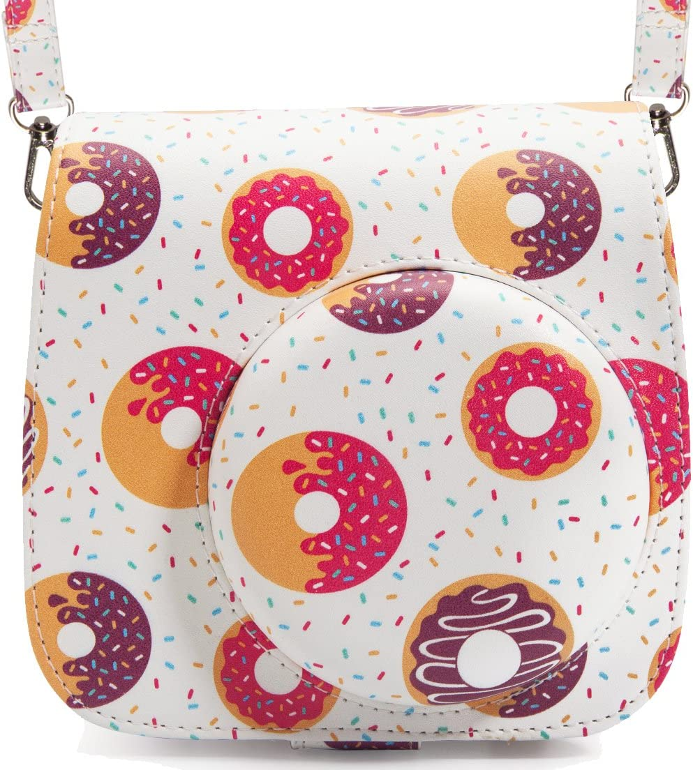 Woodmin Groovy PU Leather Camera Case for Fujifilm Instax Mini 8 Mini 9 with Shoulder Strap (Donut)