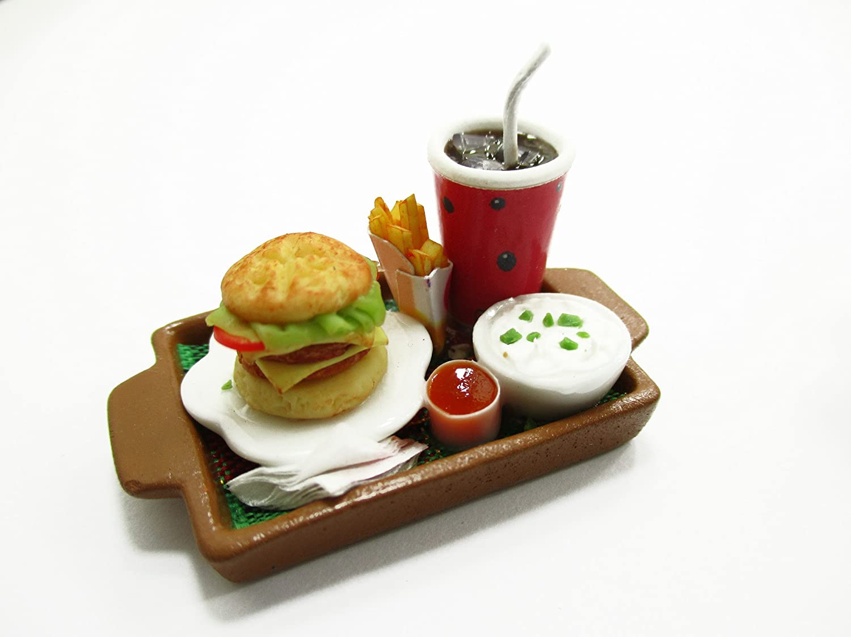 Dollhouse Miniatures Food Ice Soda Hamburger Fast Food Ceramic Tray Supply 13763