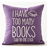 """Book Lover Reading Book Club I Have Too Many Books Purple Background Cotton Linen Decorative Throw Pillow Case Cushion Cover Square 18 """"X18 """""""