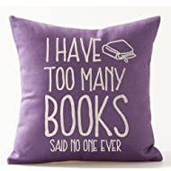 """SOPARLLY Book Lover Reading Book Club I Have Too Many Books Purple Background Cotton Linen Decorative Throw Pillow Case Cushion Cover Square 18""""X18"""