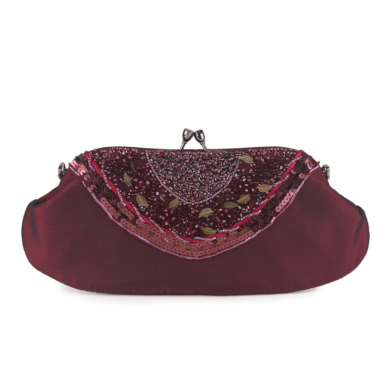 f7704100f6f Farfalla Womens 90547 Clutch Maroon: Amazon.co.uk: Shoes & Bags