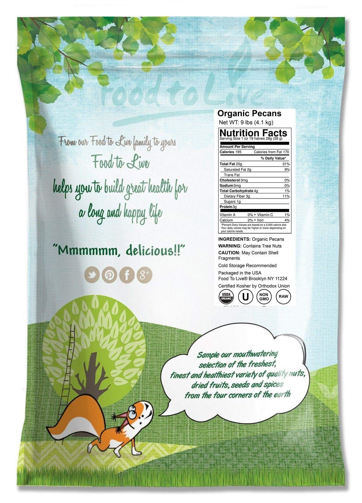 Food to Live Organic Pecans (Raw, No Shell, Kosher) (9 Pounds) by Food to Live  (Image #2)