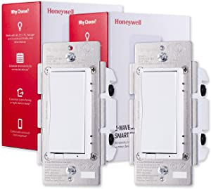 Honeywell UltraPro Z-Wave Plus Smart Light Switch 2-pack, In-Wall White & Almond Paddles | Built-In Repeater & Range Extender | ZWave Hub Required - Alexa and Google Assistant Compatible, 44946