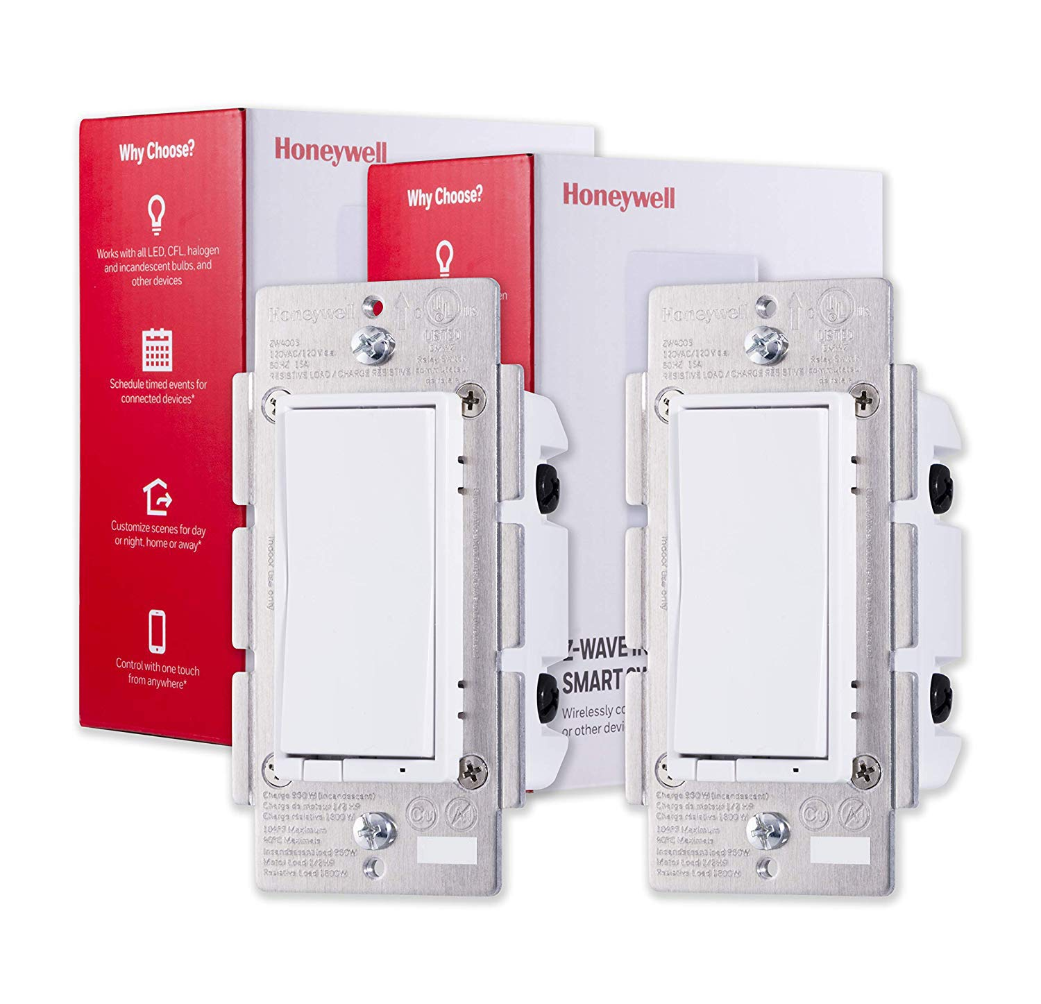 Honeywell Z-Wave Plus On/Off Smart Switch, In-Wall Paddle, Interchangeable White & Almond | Built-In Repeater & Range Extender | ZWave Hub Required - SmartThings, Wink, Alexa Compatible, 2-pack, 44946