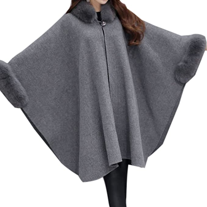 e7db59597ca0 Amazon.com  Elonglin Womens Faux Fur Cloak Coat Bat Sleeve Wool ...