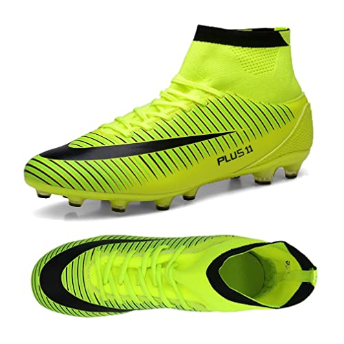 afd745207 Kids Football Boots Unisex High Top Soccer Shoes Boys Professional Spike  Training Shoes Outdoor Sneakers Teenagers Sports Boots Green 3.5 UK   Amazon.co.uk  ...
