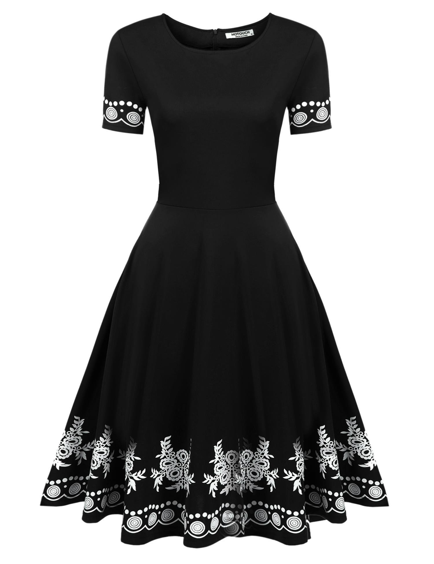 Hotouch Women Embroidered O-Neck Short Sleeve Flare Party Skater Dress(Black, XL)
