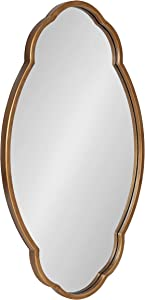 """Kate and Laurel Magritte Mid-Century Scalloped Mirror, 18"""" x 30"""", Gold, Delicate Wall Decor to Use As Accent Or Vanity Mirror"""
