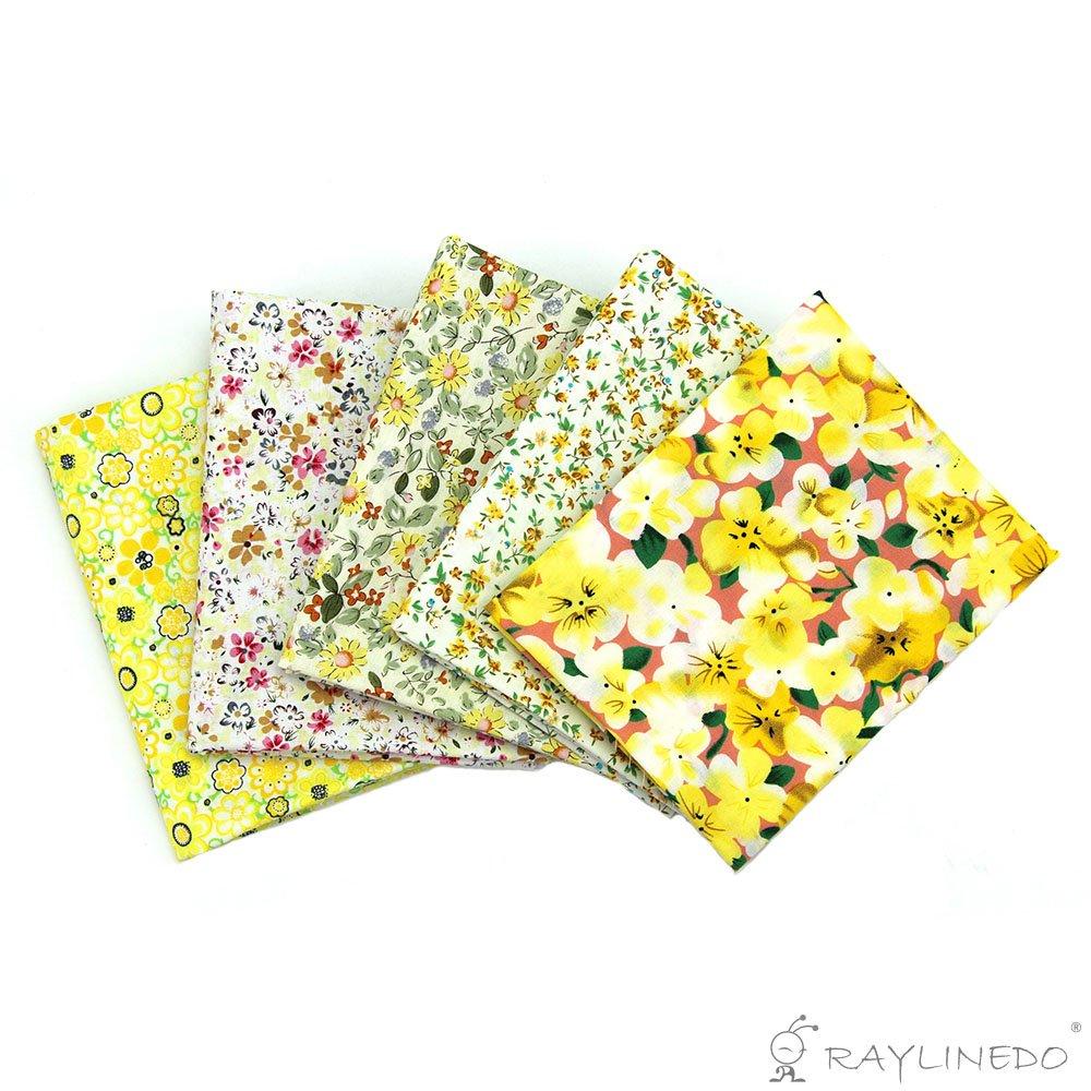 100/% cotone 18 55,88 confezione da 10 RayLineDo/® diversi colori assortiti 22 tessuto di supporto per Quilting e Patchwork Yellow and Pink tessuto popeline di taglio Fat Quarter Bundle 45,72 cm x cm