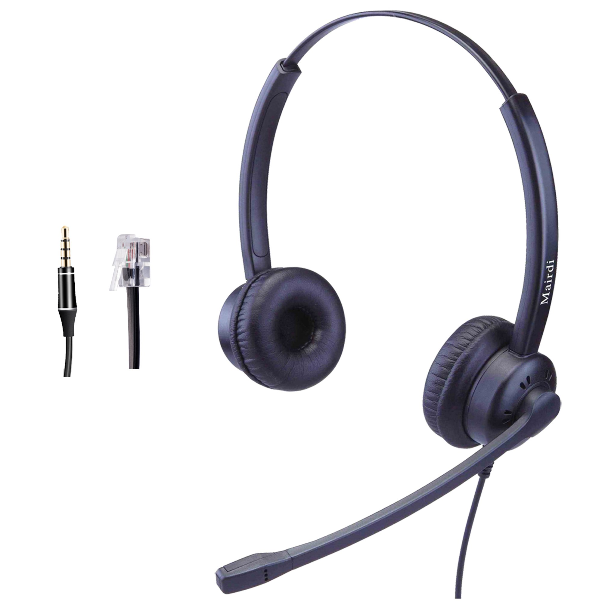 Telephone Headset with RJ9 Jack and Noise Cancelling Microphone for Call Centers Offices with Two Connectors RJ9 and 3.5mm Compatible with Avaya Nortel Aastra Toshiba Jabra by MAIRDI