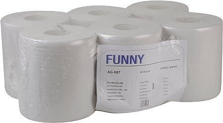 Funny - Rollos de papel para manos sin tubo interior (20 cm, 1 capa, 1 pack con 6 unidades), color blanco reciclado