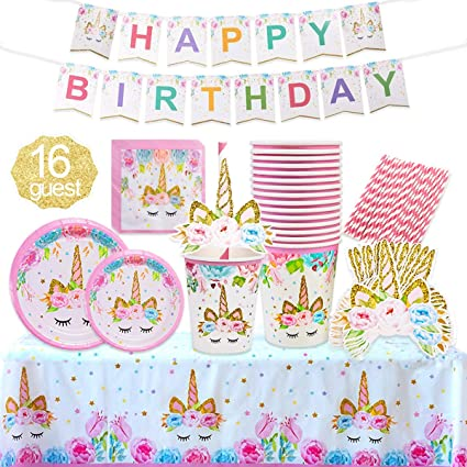 Amazon.com: Unicorn Party Supplies - Set de decoración para ...