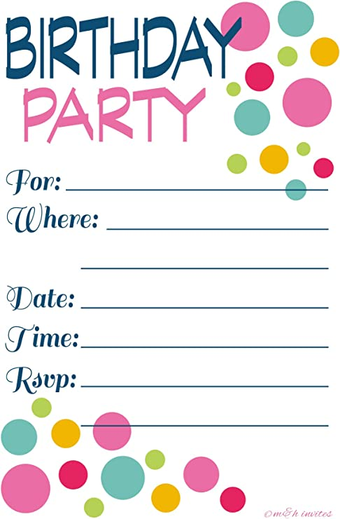 Adult Or Teen Birthday Party Invitations Colorful Dots Fill In Style 20 Count With Envelopes