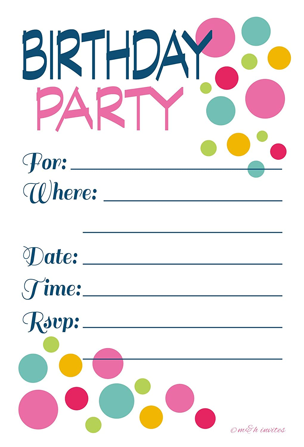Amazon.com: Adult or Teen Birthday Party Invitations Colorful Dots ...