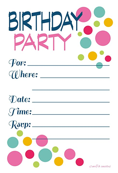 Amazoncom Adult or Teen Birthday Party Invitations Colorful Dots