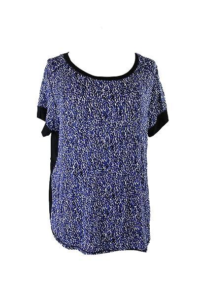 e561c923ac4267 DKNY Blue Black Short-Sleeve Printed Pajama Top L at Amazon Women's ...