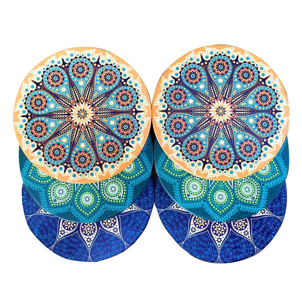 6 Pack Large Absorbent Stone Coasters With Cork Backing,Ceramic Stone Coaster,Mandala Style,4Inch