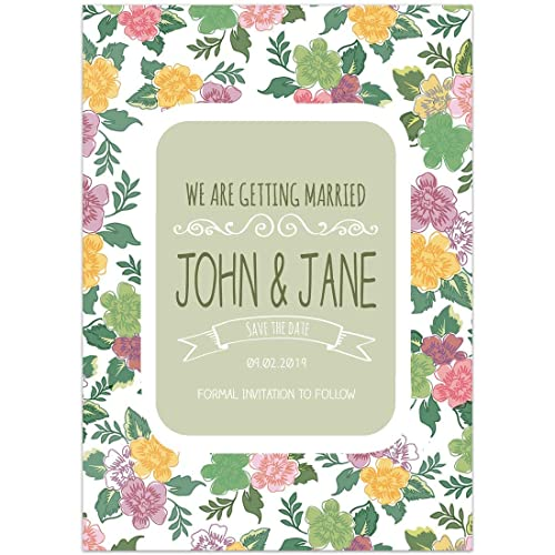 Amazon Com Green Floral Save The Date Card Wedding