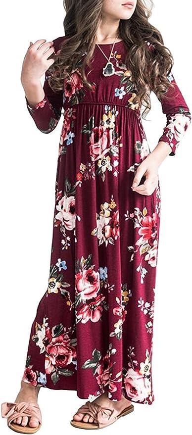 Girls Maxi Dress Fall 3/4 Sleeve Cute Floral Empire Waist Long Dresses with Pockets Burgundy Size 6-8
