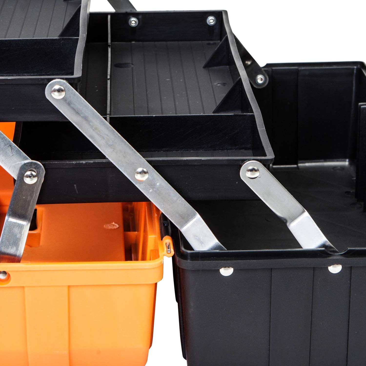 BIG RED ATRJH-3430B Torin 17 Plastic 3-Layer Multi-Function Storage Tool Box with Tray and Dividers Black//Orange