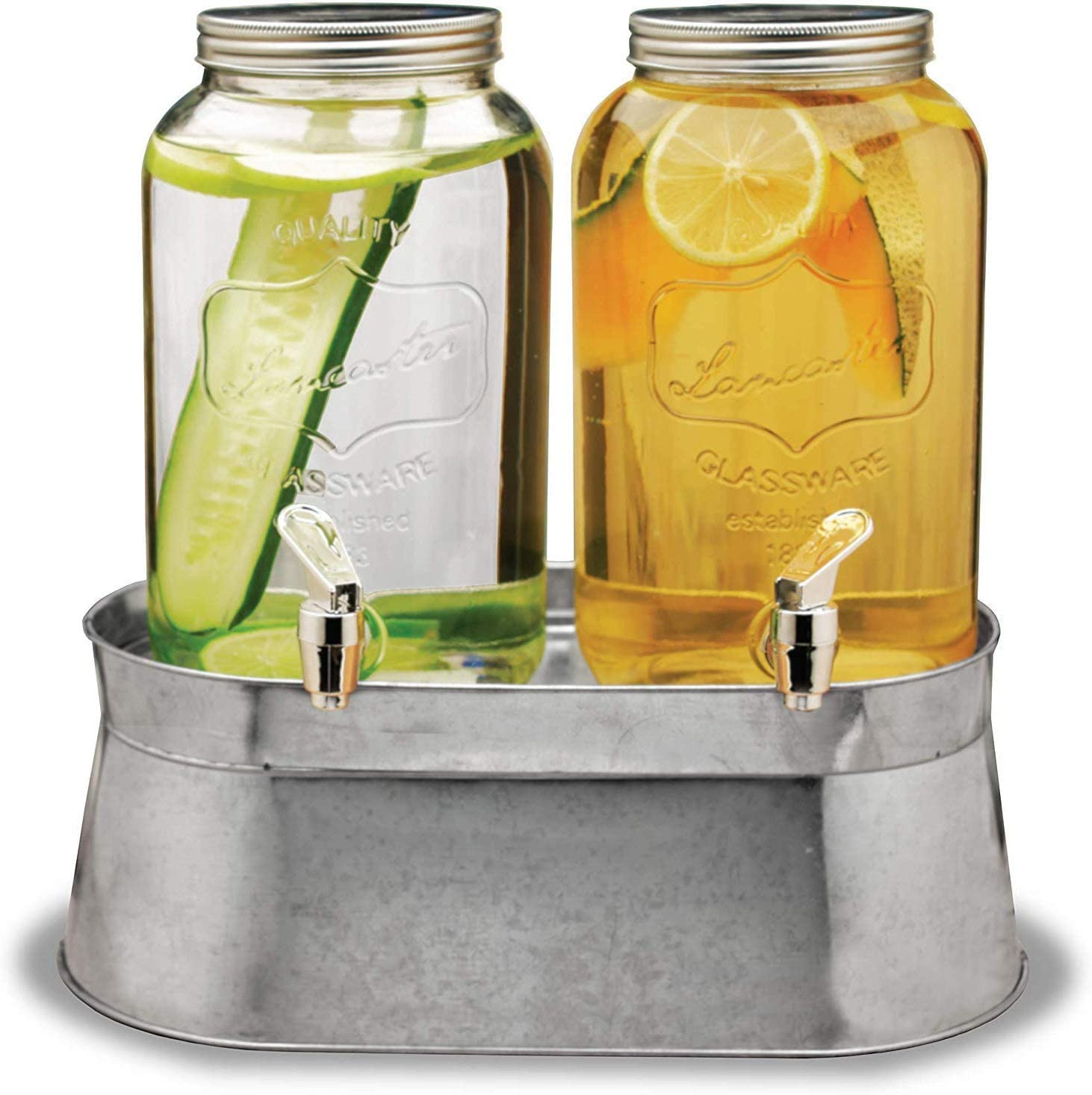 Circleware Double Beverage Dispensers with Metal Stand Fun Sun Tea Party Entertainment Glassware Glass Water Pitcher for Iced Cold Punch Drinks, 120 oz each, Lancaster