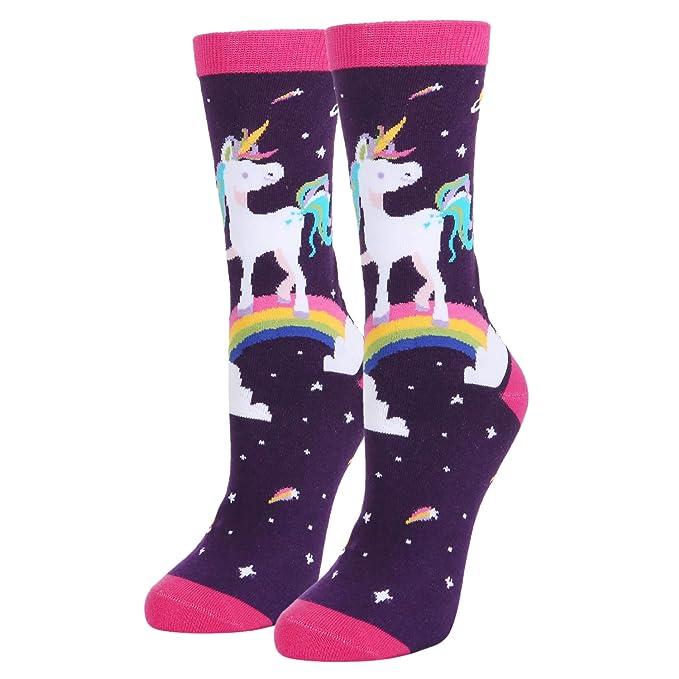 Women's Girls Crazy Rainbow Unicorn Crew Socks, Cute Funny Gift