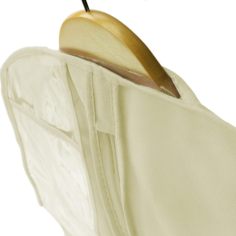 Hangerworld 1 Funda para Vestido de Novia 183cm XL Marfil Transpirable con Cremallera Anti-Polvo