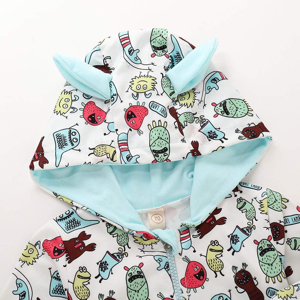 Geetobby Newborn Baby Romper Cartoon 3D Small Ear Hooded Zipper Harem Jumpsuit