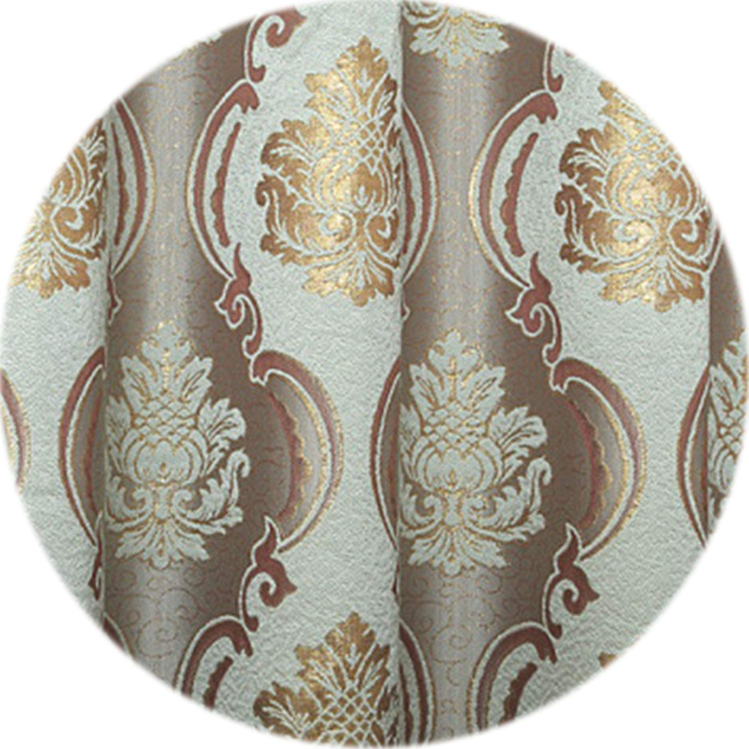 No Buy No Bye European Floral Design Living Room Curtain Luxury Thick Cloth Window Shading Panel Drops Home Decoration New Year Shades,Brown,W400cm L270cm,2 Grommet top