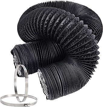 Hon&Guan Tubo de Manguera de Ventilación Tubo Aire Flexible di Aluminio PVC para Extractor de Aire, Climatización, Secadora(ø100mm*5m, Negro): Amazon.es: Bricolaje y herramientas