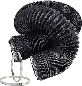 Hon&Guan Tubo de Manguera de Ventilación Tubo Aire Flexible di Aluminio PVC para Extractor de Aire, Climatización, Secadora(ø150mm*5m, Negro): Amazon.es: Bricolaje y herramientas